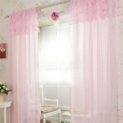 Sheer Pink Curtains Ruffle Curtain