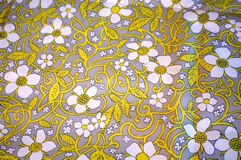 vintage fabric gray and yellow floral vintage fabric