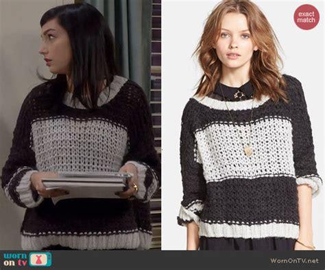 wornontv mandys black  white colorblocked knit