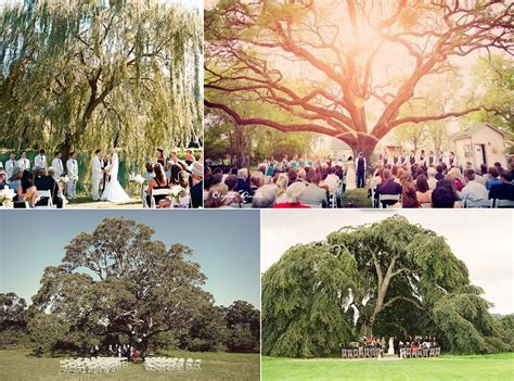outdoor wedding ideas ceremony under a tree   OneWed.com