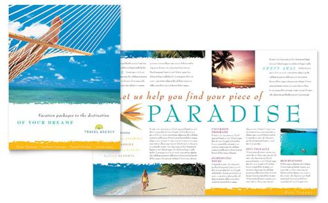 template for travel brochure travel agency brochure template design