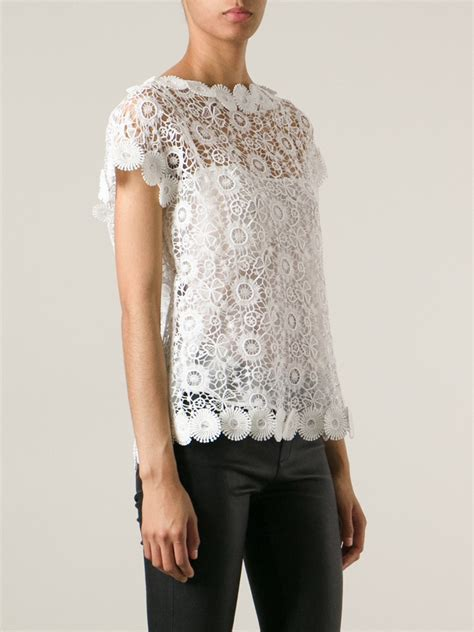 Keira Top Lace Blouse Hijaber lyst moschino lace top in white
