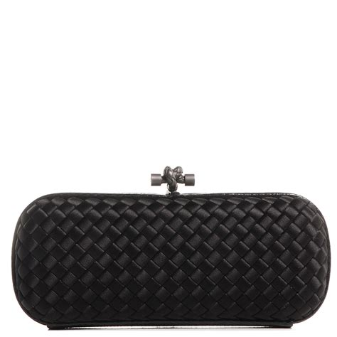 Bottega Veneta Intrec Capretto Knot Clutch In Black by Bottega Veneta Satin Intreccio Impero Stretch Ayers Knot