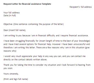 Letter Requesting Financial Support From Employer Request Letter For Financial Assistance Request Letter Sle