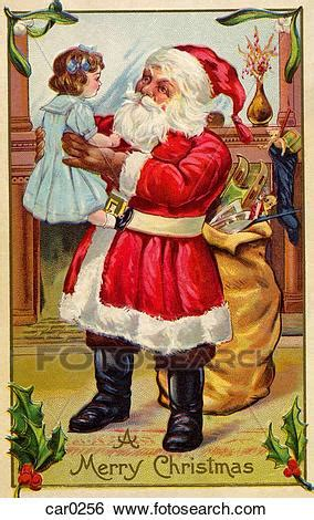 vintage christmas postcard  santa claus holding    girl stock illustration car