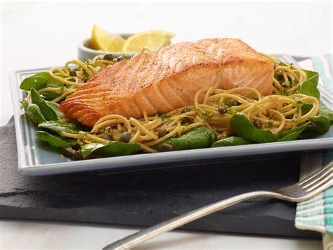 salmon food whole wheat spaghetti with lemon basil and salmon recipe giada de laurentiis