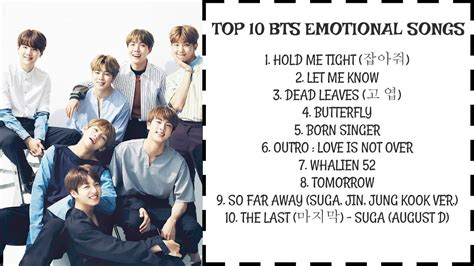 bts songs playlist top 10 bts emotional songs youtube