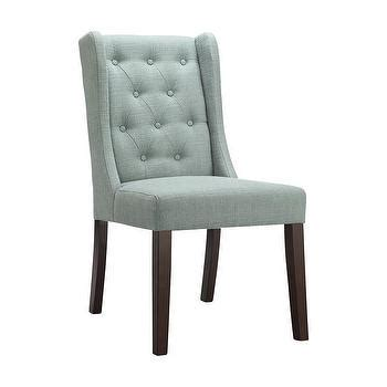 Blue Tufted Dining Chair Modern Gray Wingback Armless Dining Chair