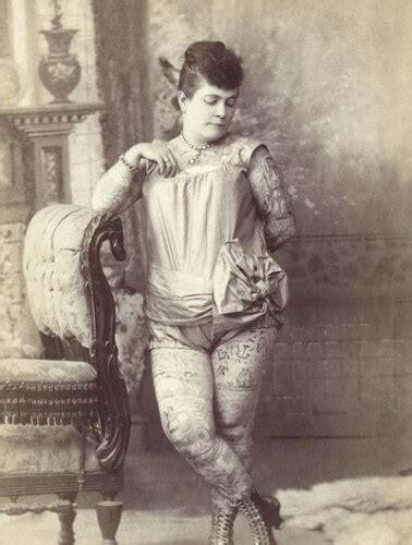tattoo lady history nora hildebrandt the first tattooed lady