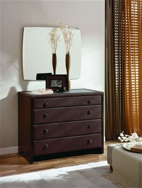 brown color leatherette dresser and square mirror