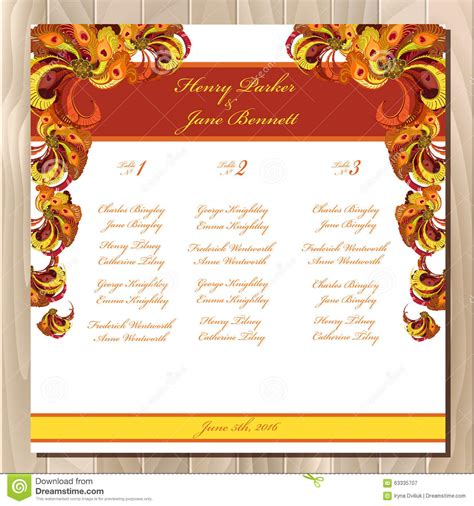 Wedding Background List by Table Guest List Vector Background Peacock Feathers