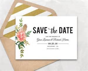 Printable Save The Date Templates by Save The Date Template Floral Save The Date Card Boho