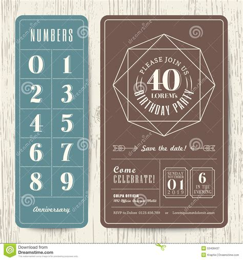 Retro Birthday Card Template by Retro Birthday Invitation Card With Editable Numbers