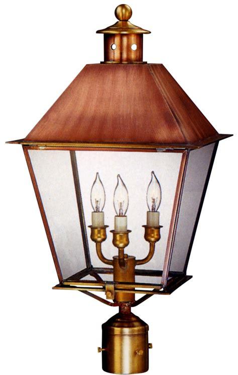 copper l post lantern carolina colonial copper lantern post light post head