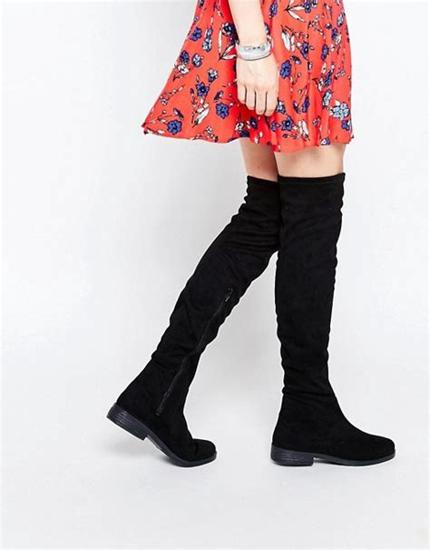 asos asos keeper flat the knee boots