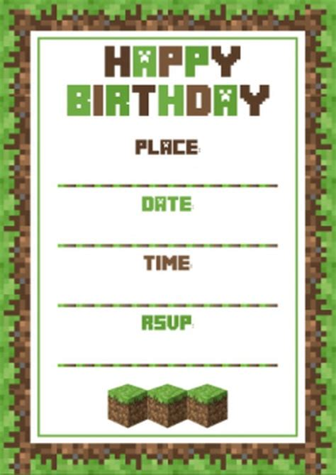 minecraft birthday card template birthday invitation template minecraft invitations