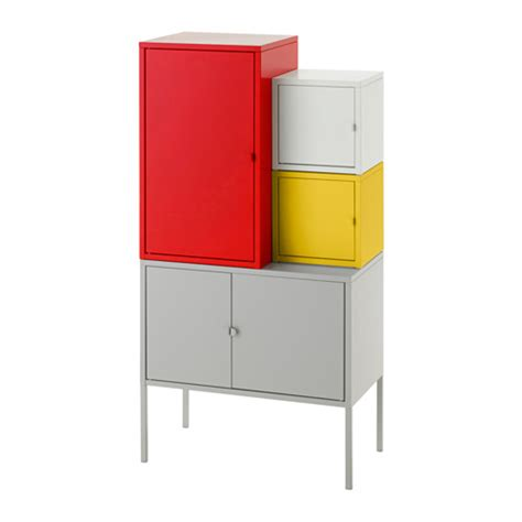 ikea lixhult lixhult storage combination red yellow gray white ikea