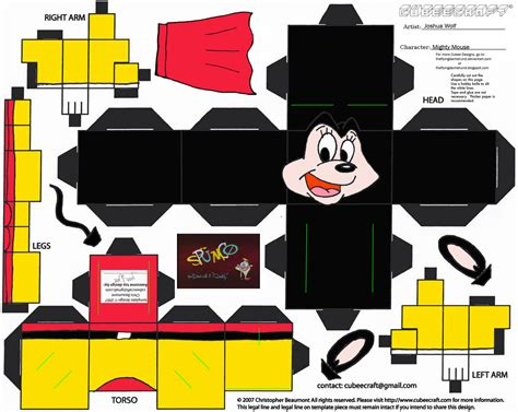 Mickey Mouse Papercraft - mighty mouse paper free printable papercraft templates