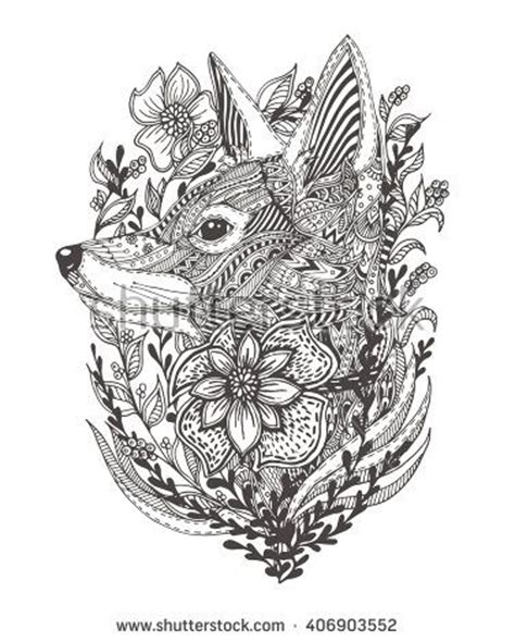 coloring pages for adults fox fox in flowers with ethnic floral doodle