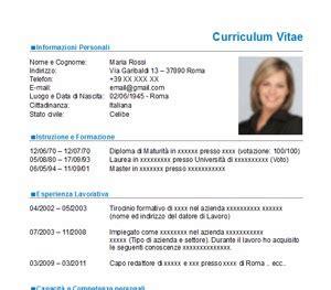 Modelo Curriculum Vitae Word Con Foto Curriculum Vitae Nuovo Modello Cv Da Scaricare Gratis