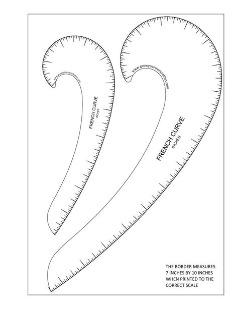 sewing pattern rulers printable pdfs of imperial and metric french curves and