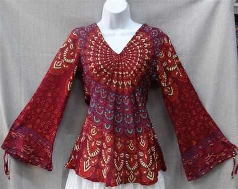 Hippie Top by Indian Womens Peacock Hippie Boho Shirt Top Cotton