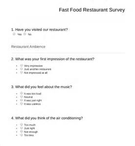 food questionnaire template 13 restaurant survey templates free sle exle