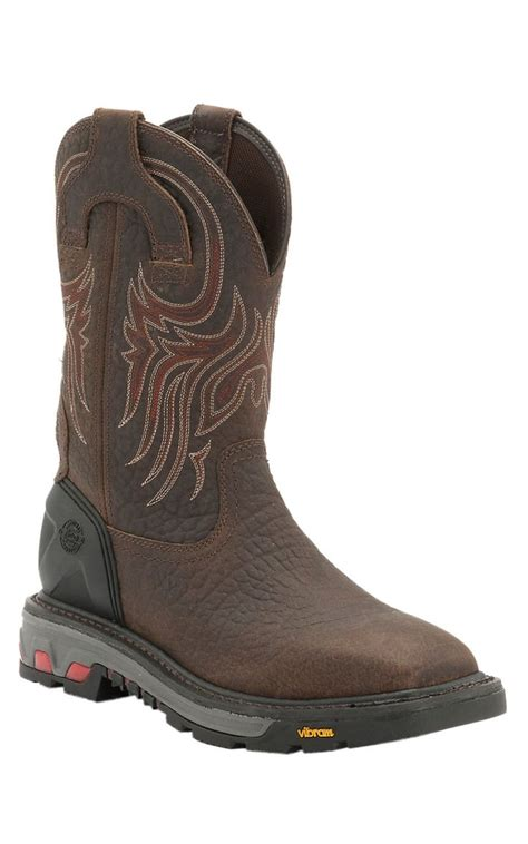 most comfortable pull on work boots justin commander x5 men s tumbled mahogany square steel