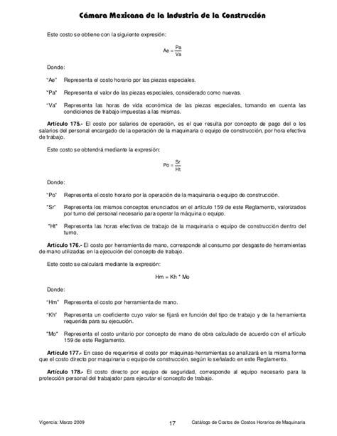 catalogo de costos horarios maquinaria cmic 2014 en manual costos horarios cmic 2009