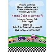 Race Car Birthday Party Invitations  Candles And Favors