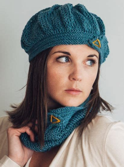 cowl pattern dk yarn one skein knitting pattern for herringbone beret and cowl