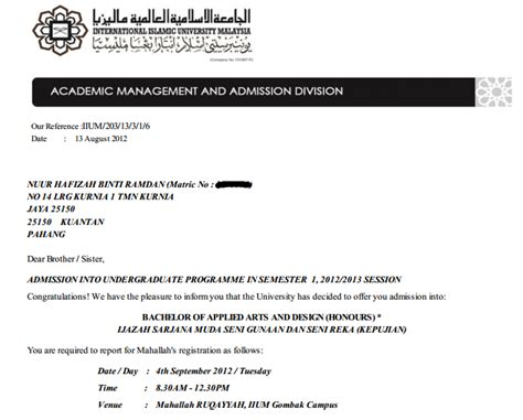 Offer Letter Iium Gombak akustikata i am degree student to be insyaallah