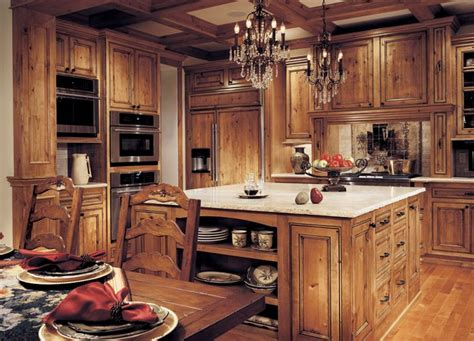 rustic kitchen with knotty alder cabinets