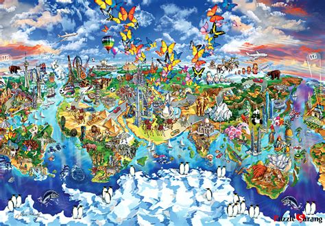 Jigsaw Puzzle Perre Butterfly World Map 1000 Pieces jigsaw puzzles 1000 pieces quot world map of world wonders