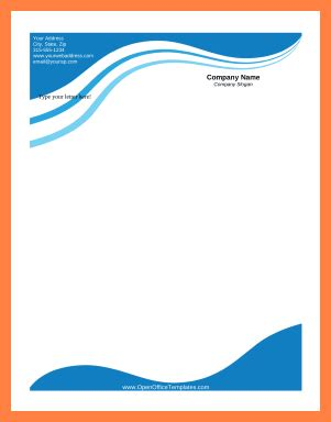 business letterhead with blue waves 3 open office letterhead template company letterhead