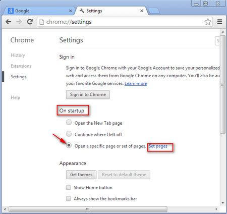 chrome change homepage in browser