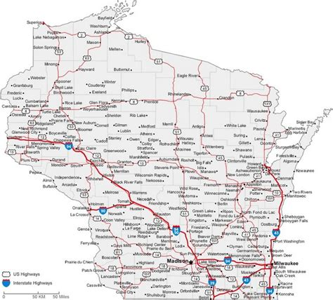 driving map of wisconsin wisconsin state road map with census information