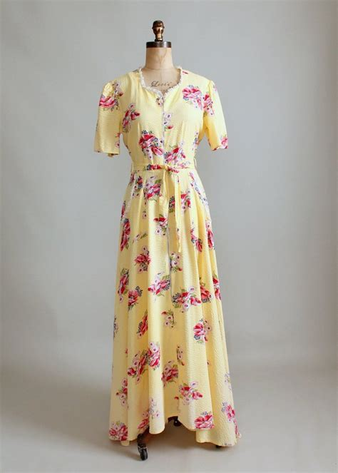 House Dresses by Vintage 1940s Yellow Cotton And Lace Floral House Dress