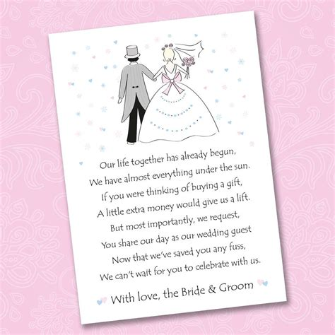 money wedding gift 25 x wedding poem cards for your invitations ask
