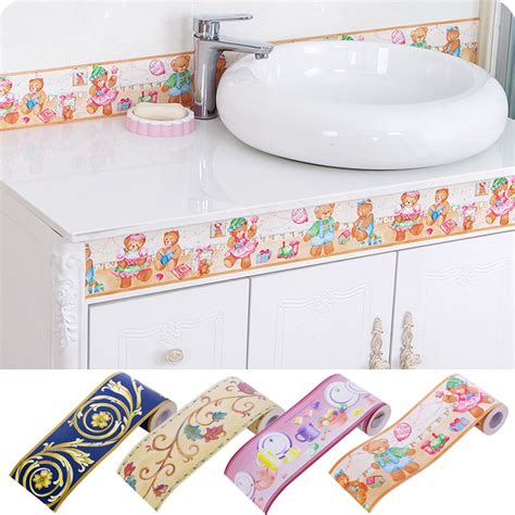 waterproof bathroom stickers 10x1000cm pvc self adhesive living room kitchen baseboard