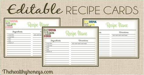recipe cards printables templates  binder inserts