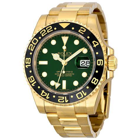 golden rolex rolex gmt master ii green dial 18k yellow gold oyster