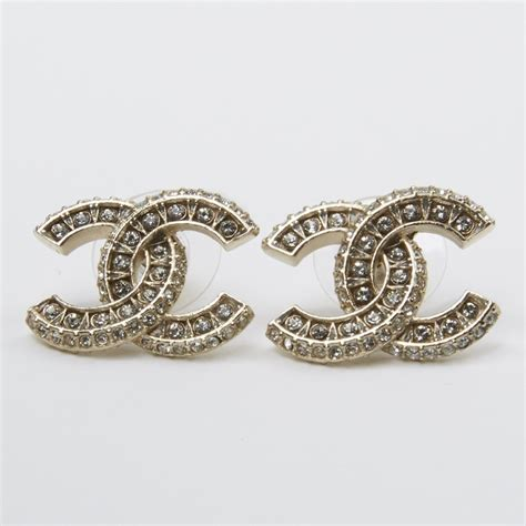 authentic chanel 2015 xl large cc logo earrings
