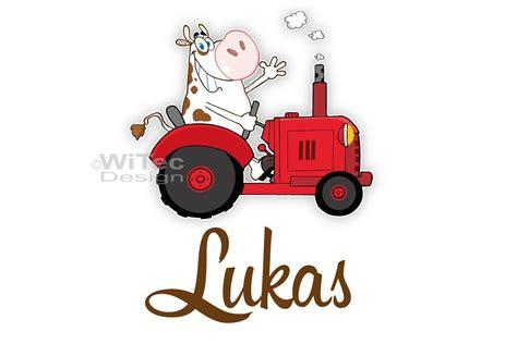 Lustige Traktor Aufkleber by T 252 Raufkleber Traktor Mit Lustiger Kuh Name Kinderzimmer