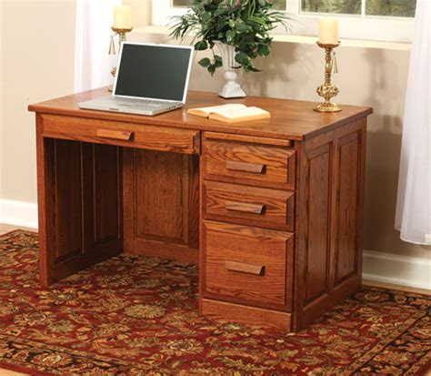 amish flat top computer desk with raised panel back 48 quot