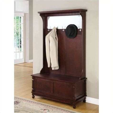 hall tree coat rack with bench entryway hall tree coat rack with storage bench in merlot
