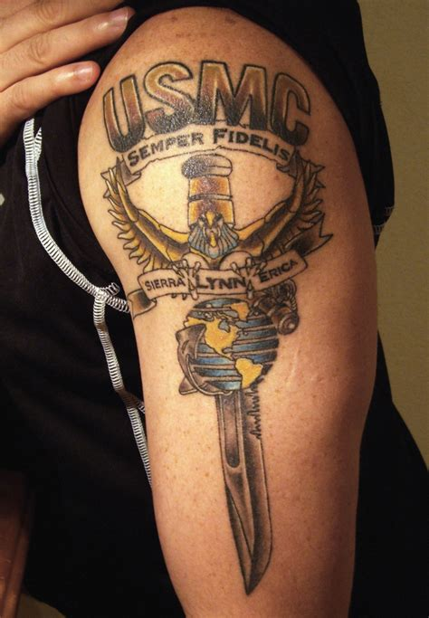bar tattoo usmc on and designed by david nelke eagle wing