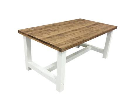 eettafel 300 x 110 tafel bruin blad wit onderstel kloostertafel