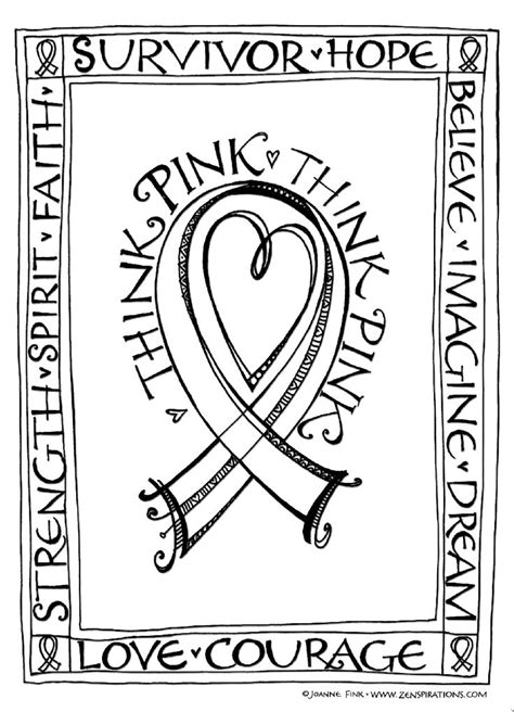 coloring page of breast cancer ribbon zenspirations blog think pink free downloadable