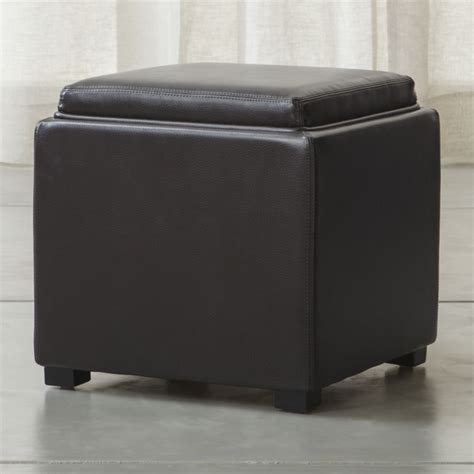 ottoman crate and barrel stow chocolate 17 quot leather storage ottoman crate and barrel